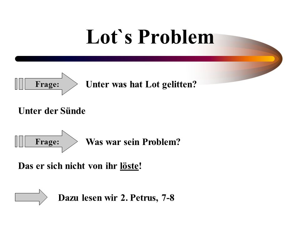 Lot`s Problem Unter was hat Lot gelitten Unter der Sünde