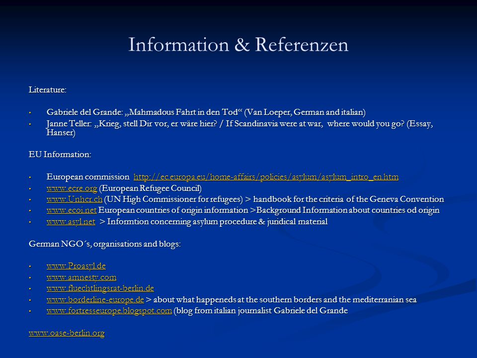 Information & Referenzen