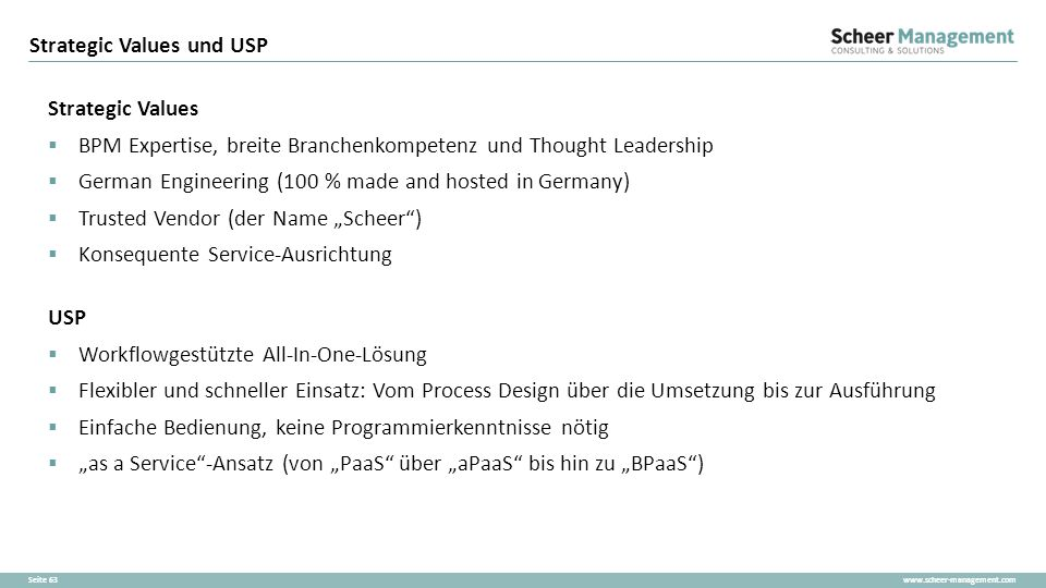 Strategic Values und USP