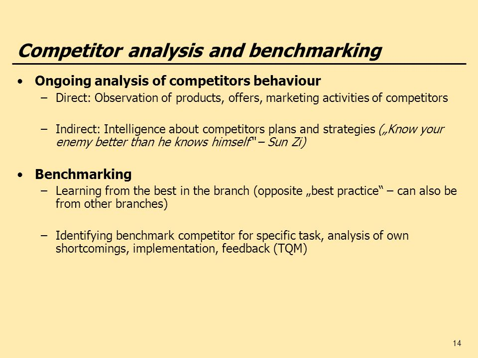 Competitor analysis and benchmarking