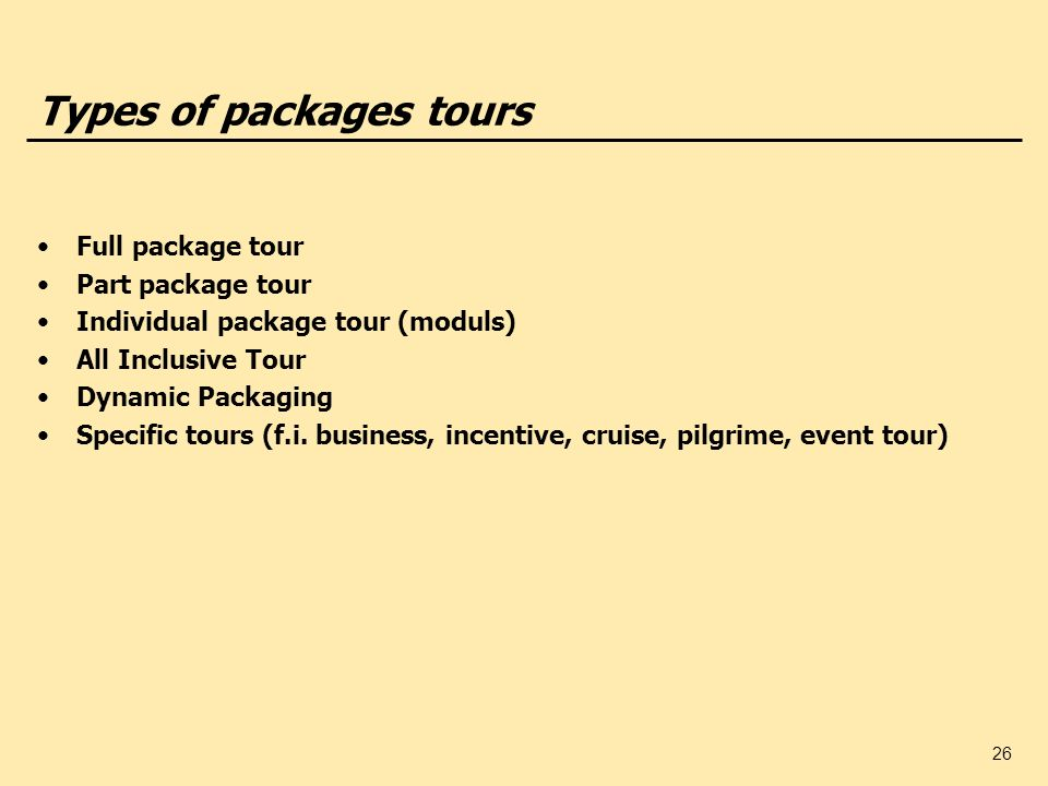 Types of packages tours