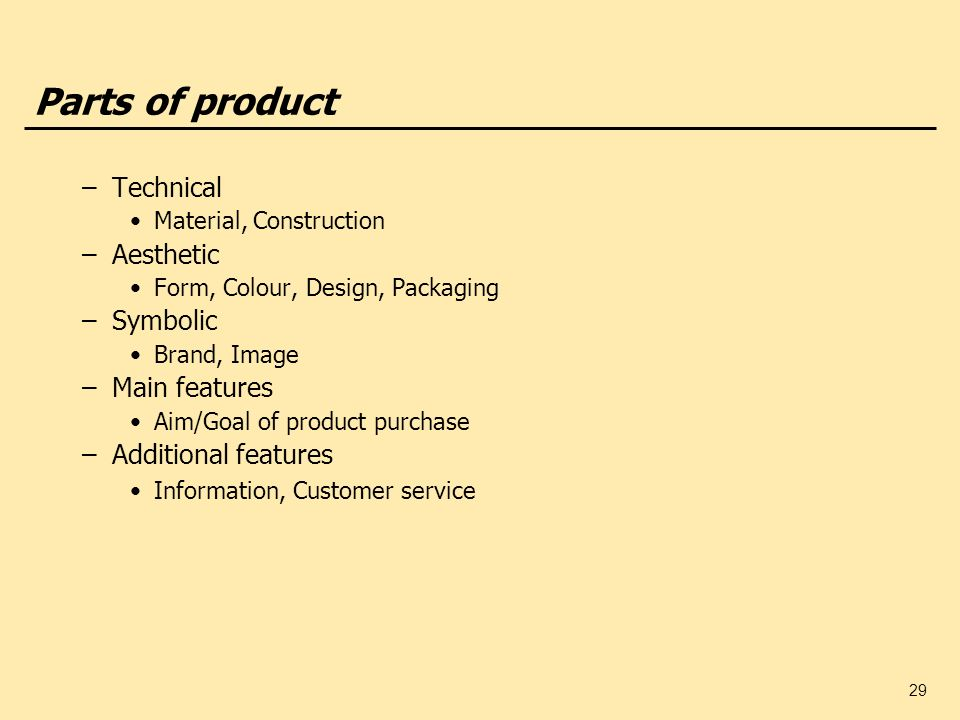 Parts of product Technical Aesthetic Symbolic Main features