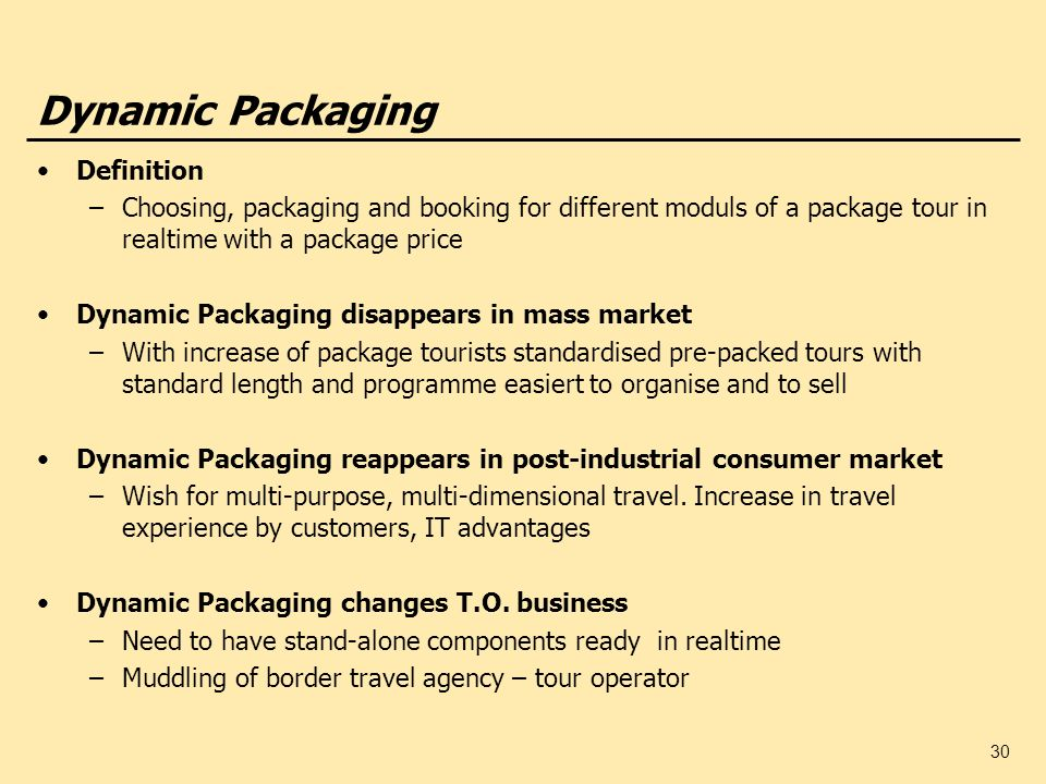 Dynamic Packaging Definition