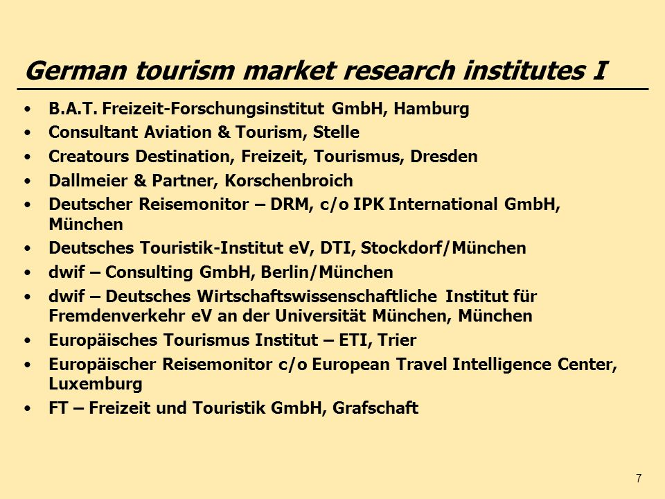 German tourism market research institutes I