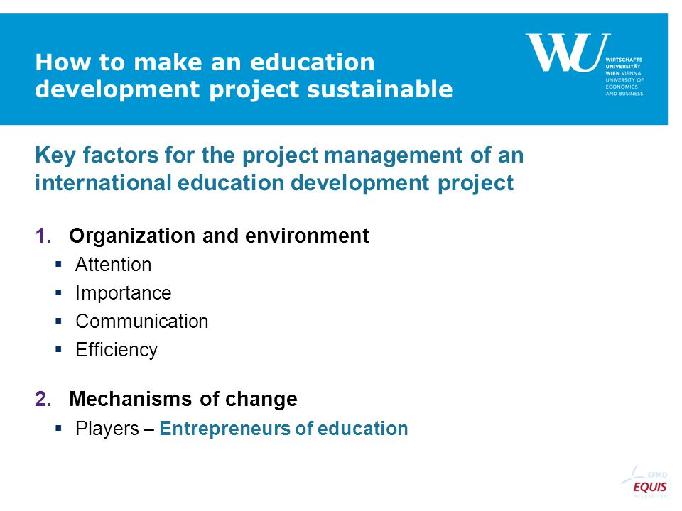 How to make an education development project sustainable
