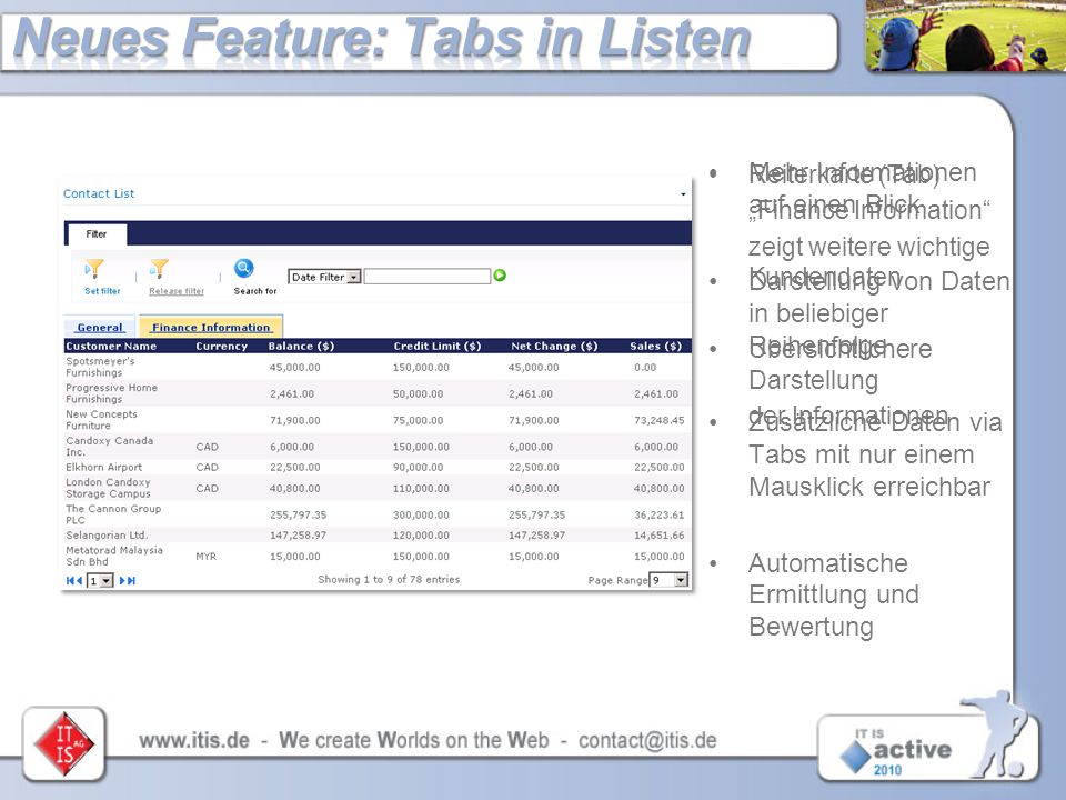 Neues Feature: Tabs in Listen