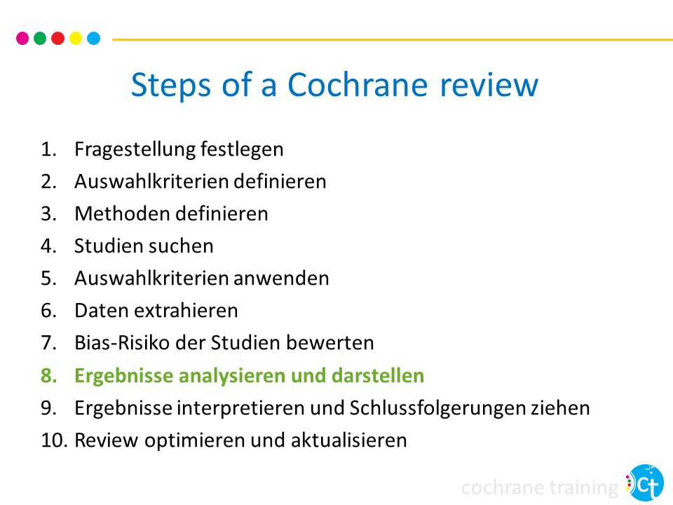 Steps of a Cochrane review