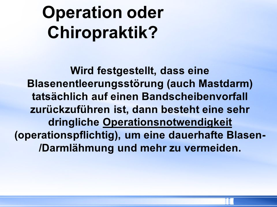 Operation oder Chiropraktik
