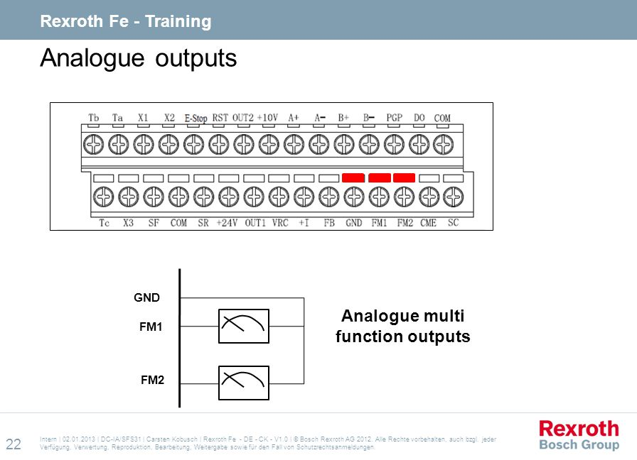 Analogue multi function outputs