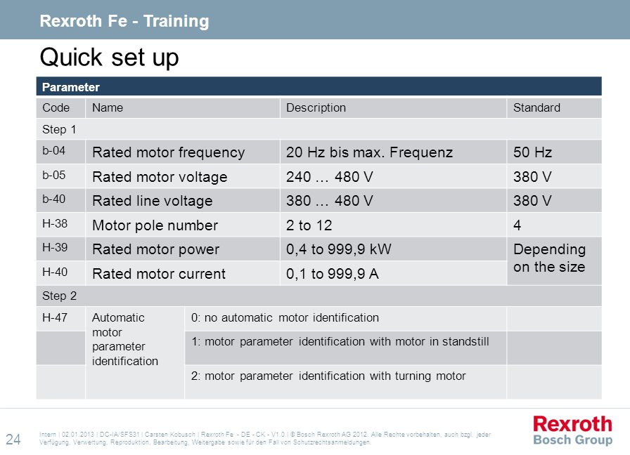 Quick set up Rexroth Fe - Training Rated motor frequency