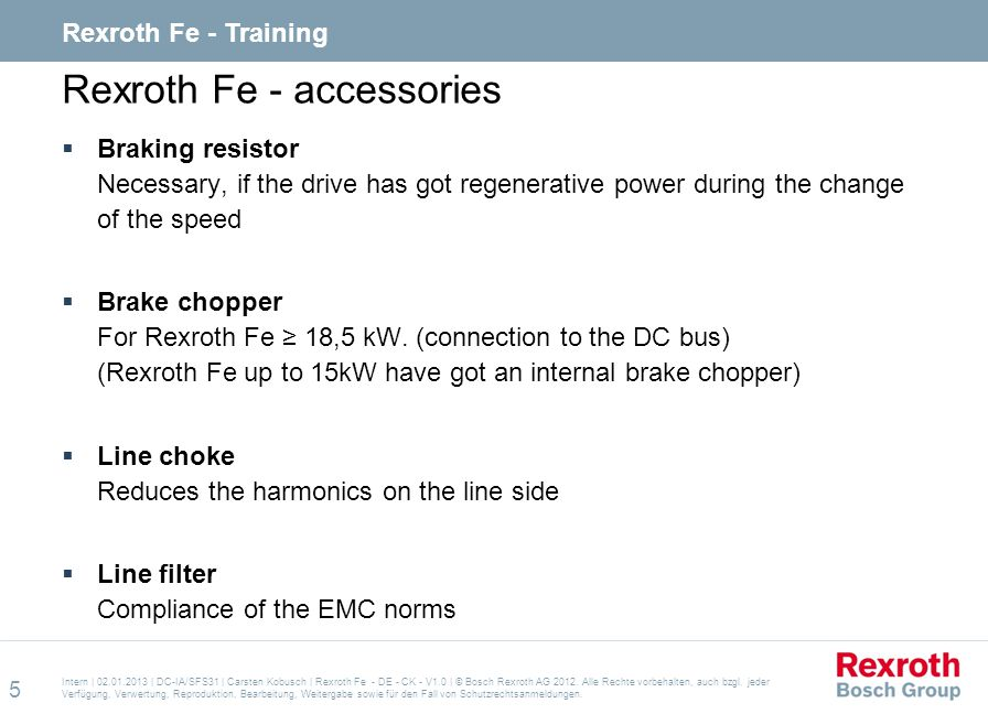 Rexroth Fe - accessories