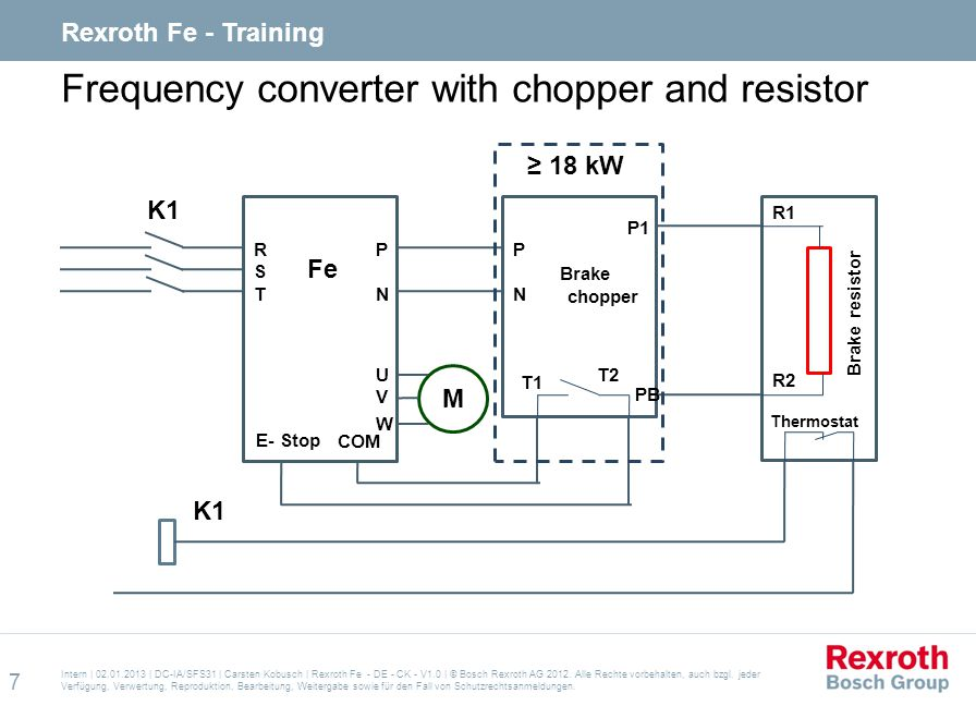 Frequency converter with chopper and resistor