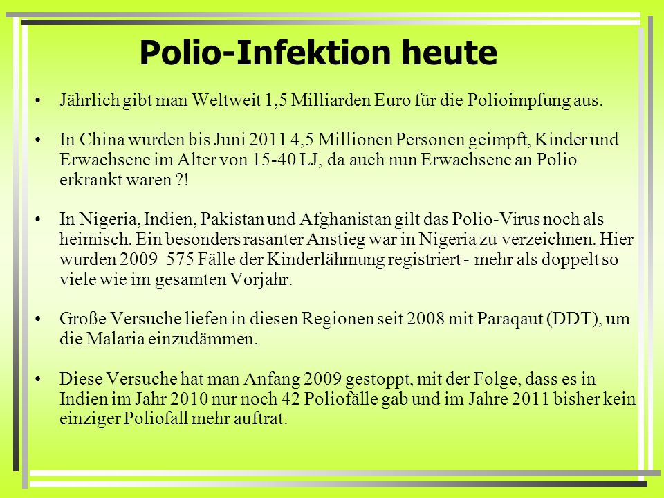 Polio-Infektion heute