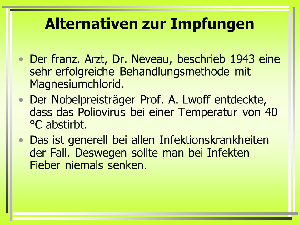 Alternativen zur Impfungen
