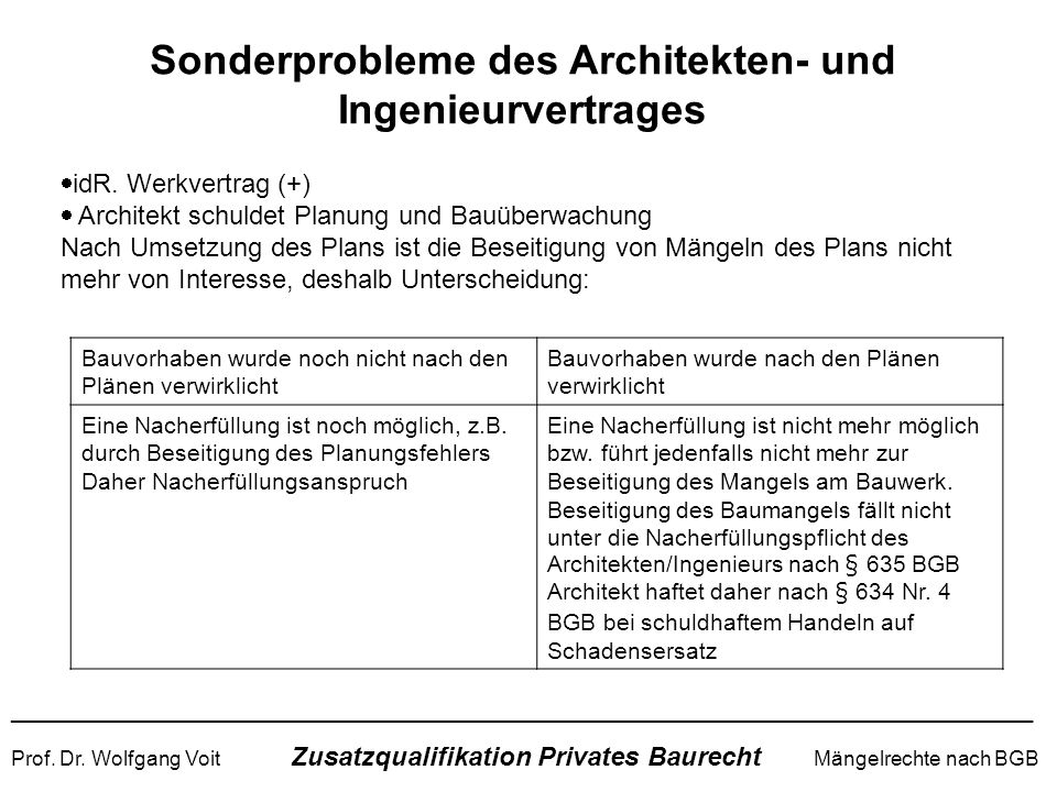 Sonderprobleme des Architekten- und Ingenieurvertrages