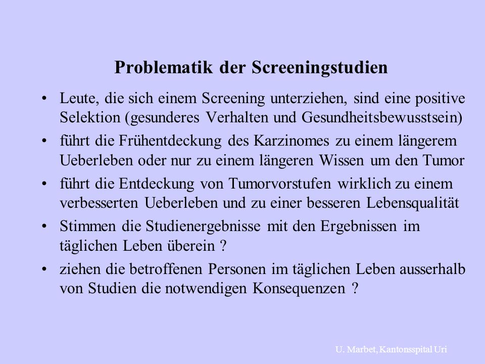 Problematik der Screeningstudien