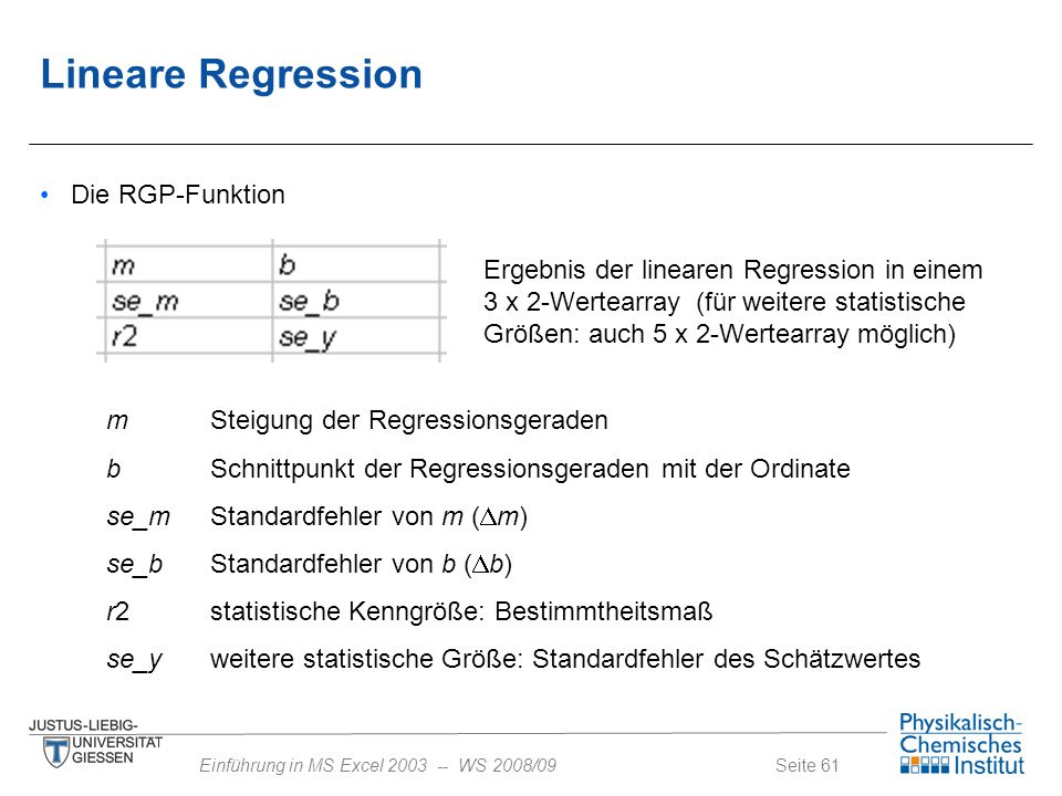 Lineare Regression Die RGP-Funktion