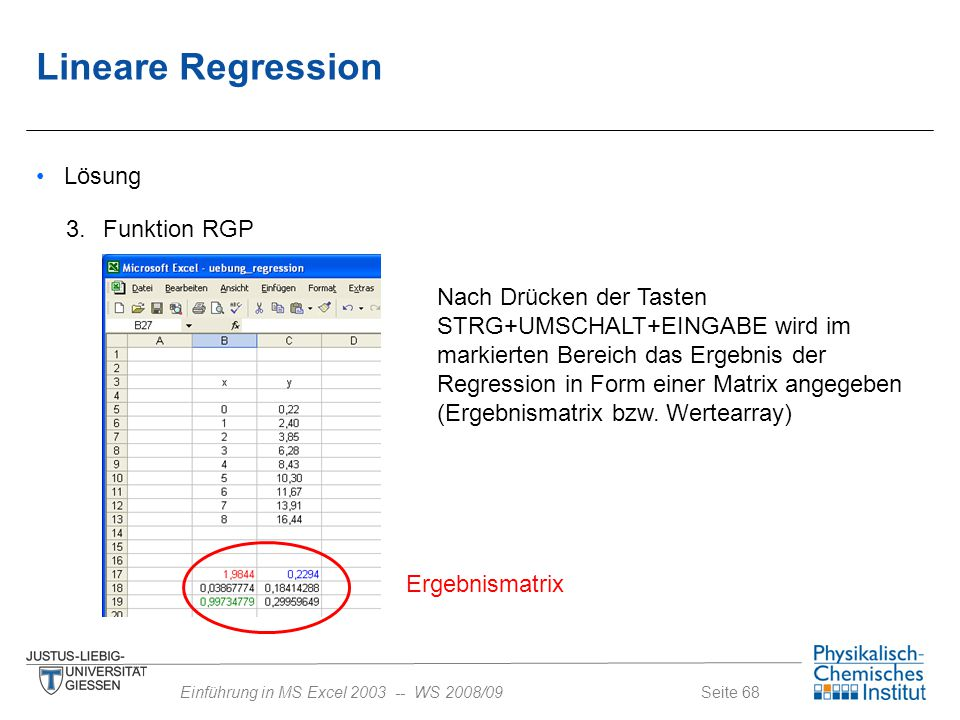 Lineare Regression Lösung 3. Funktion RGP
