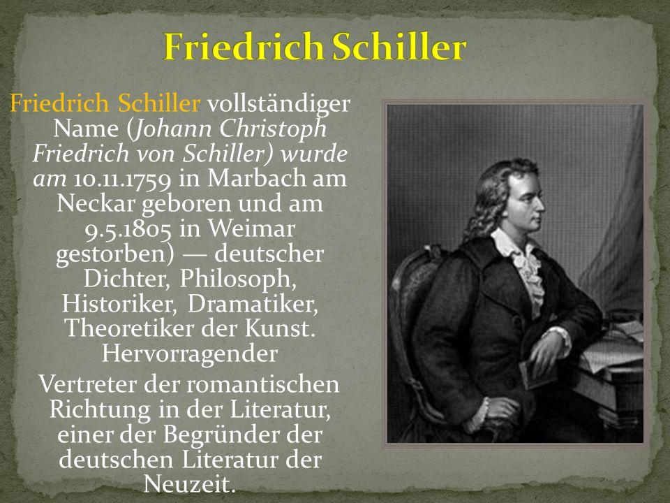 Friedrich Schiller Lebenslauf Kurze Zusammenfassung