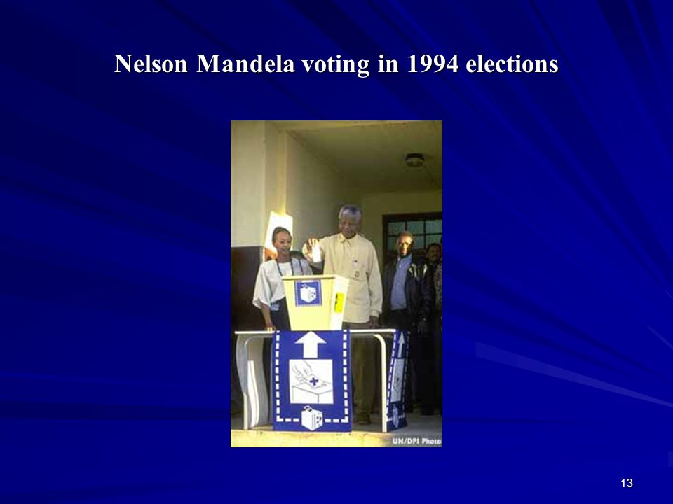 Nelson Mandela voting in 1994 elections