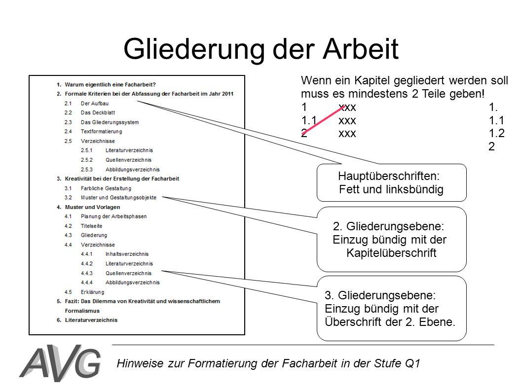 Formatierung Der Facharbeit Fomalia Und Technische Umsetzung