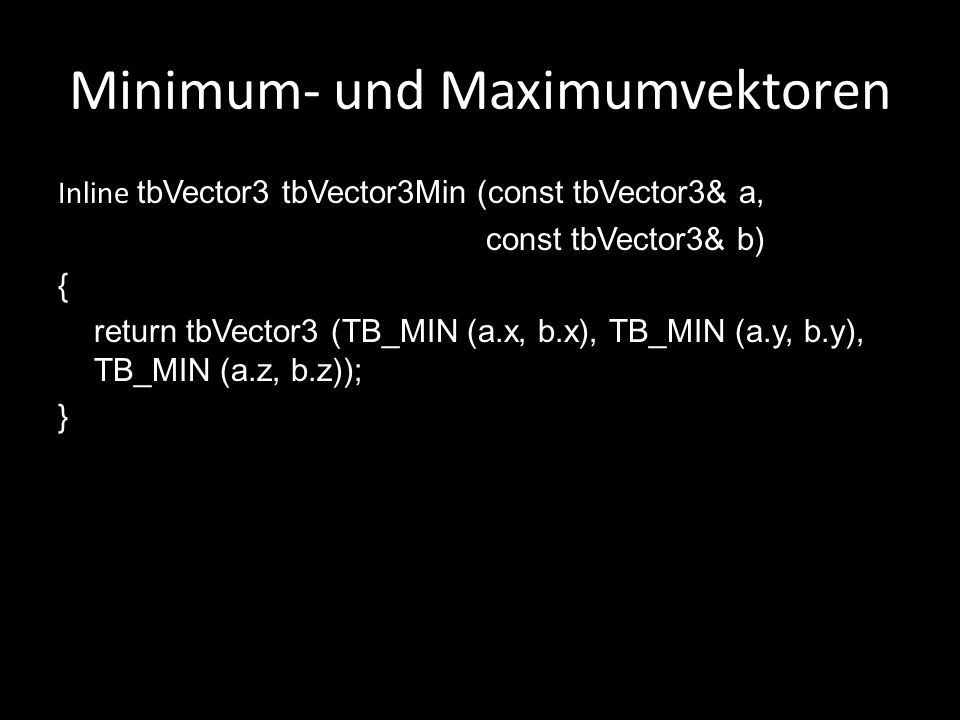 Minimum- und Maximumvektoren