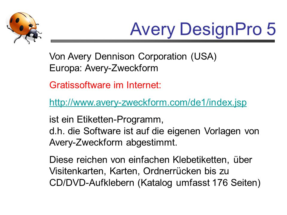 Avery DesignPro 5 Von Avery Dennison Corporation (USA)