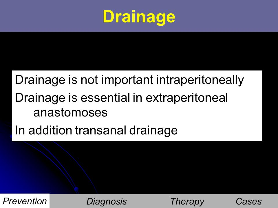 Drainage Drainage is not important intraperitoneally