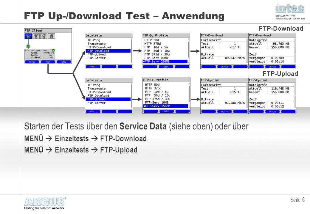 FTP Up-/Download Test – Anwendung