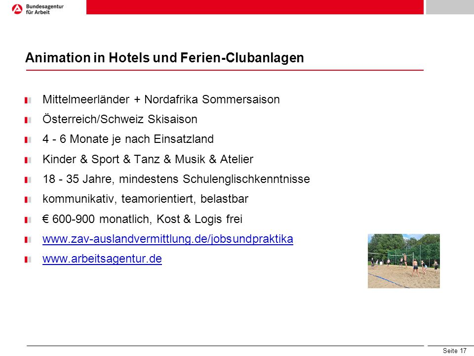 Animation in Hotels und Ferien-Clubanlagen