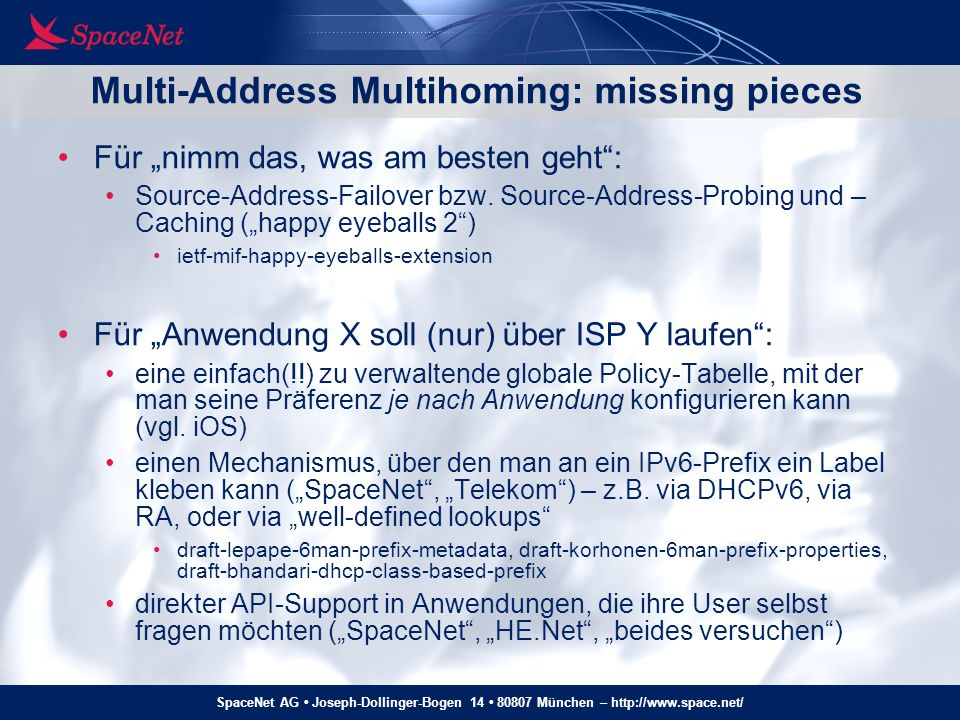 Multi-Address Multihoming: missing pieces