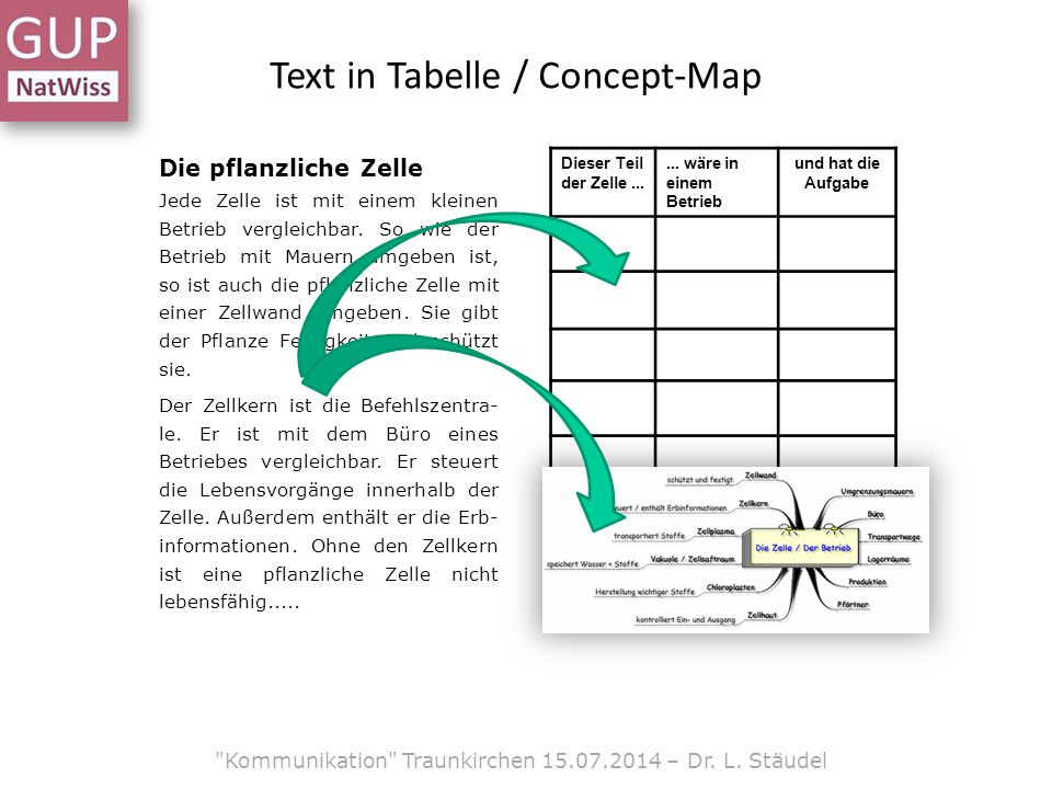Text in Tabelle / Concept-Map