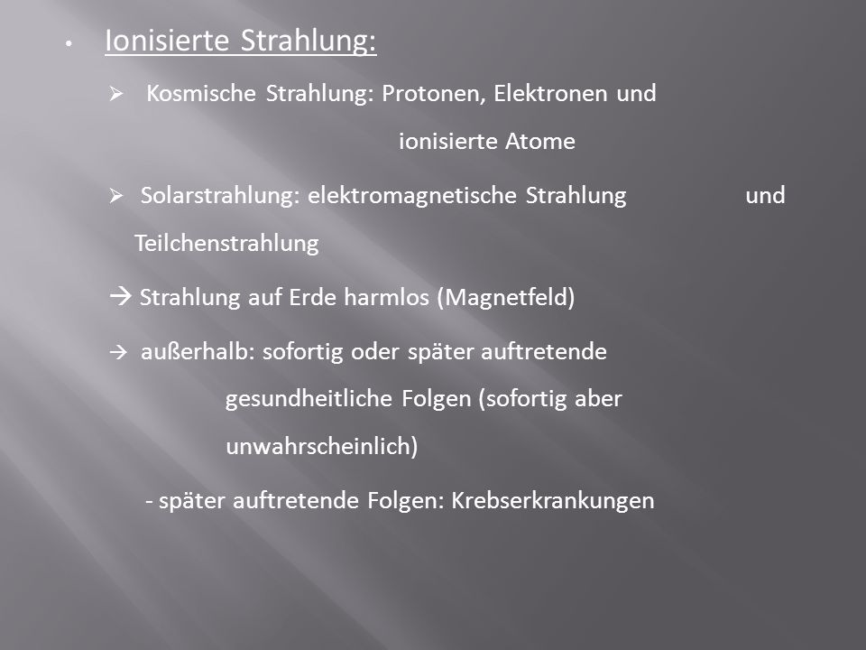 Ionisierte Strahlung: