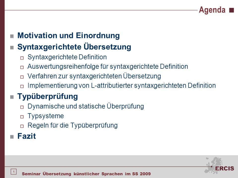 Agenda Motivation Und Einordnung Syntaxgerichtete übersetzung Ppt