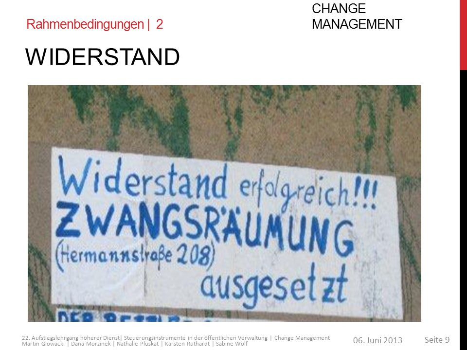 Rahmenbedingungen | 2 Change Management Widerstand