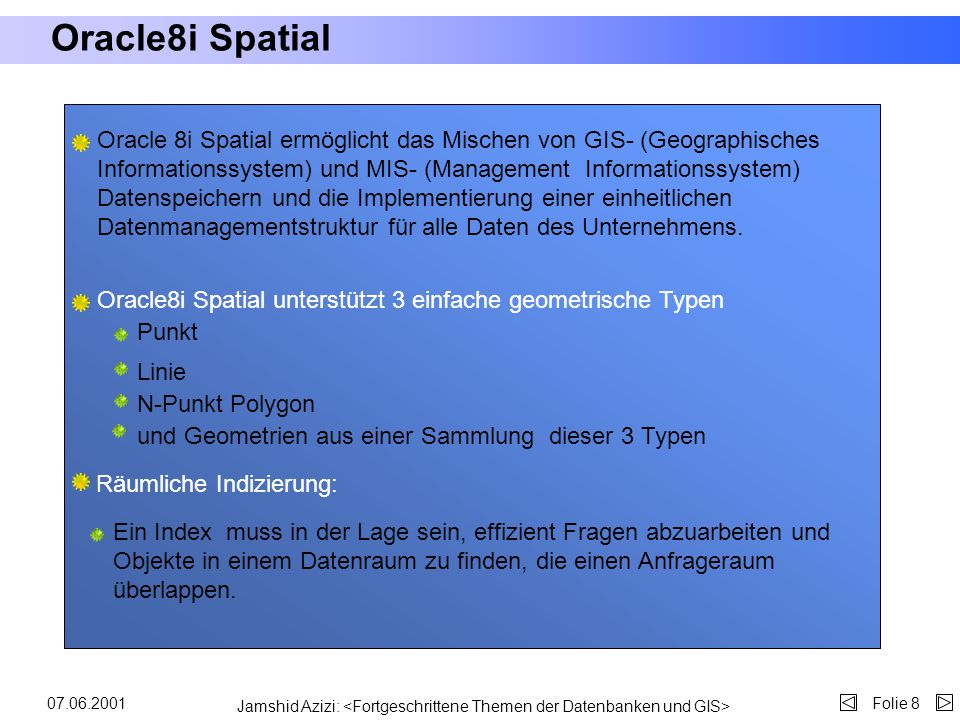 Oracle8i Spatial