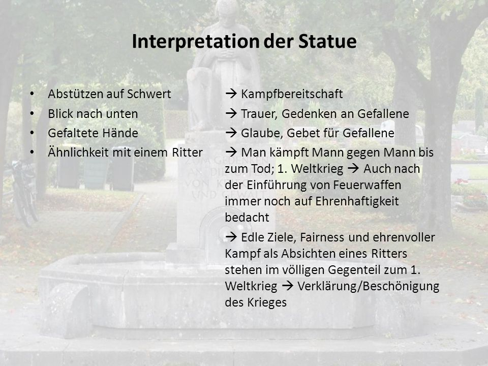 Interpretation der Statue