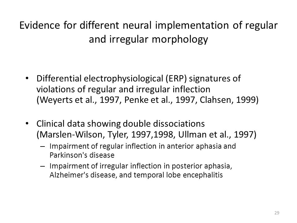 Evidence for different neural implementation of regular and irregular morphology