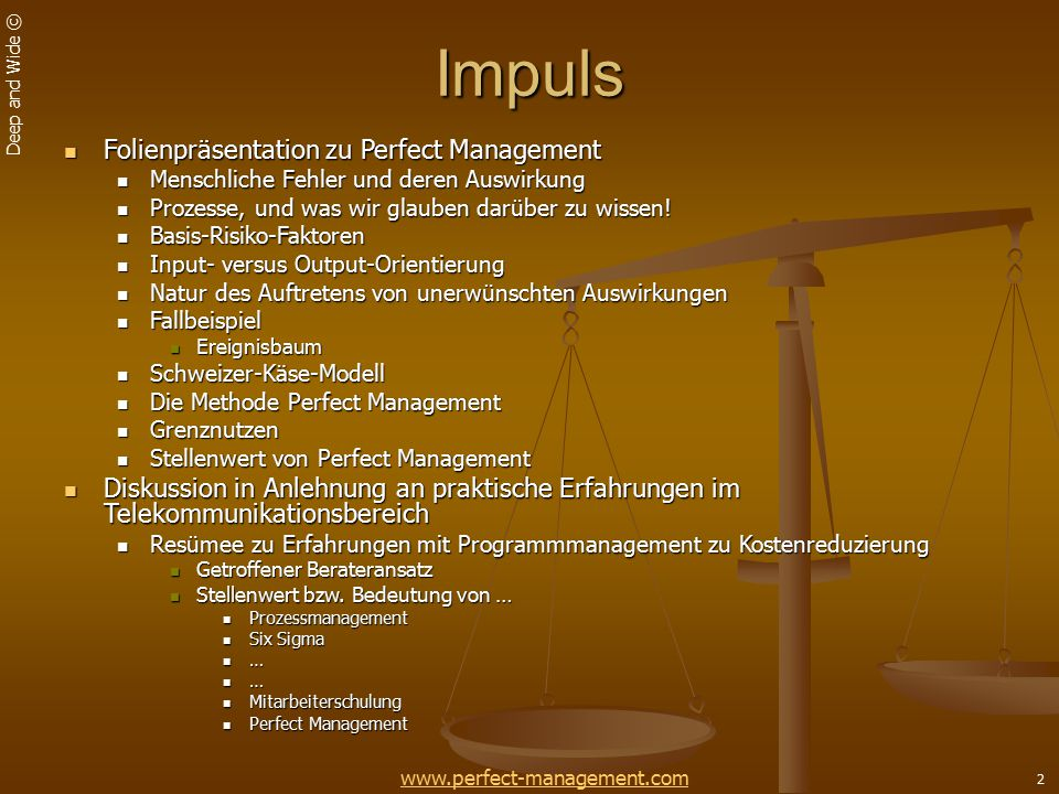 Impuls Folienpräsentation zu Perfect Management