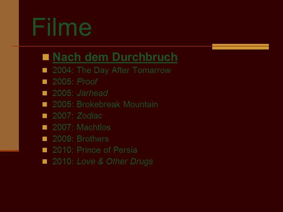 Filme Nach dem Durchbruch 2004: The Day After Tomarrow 2005: Proof