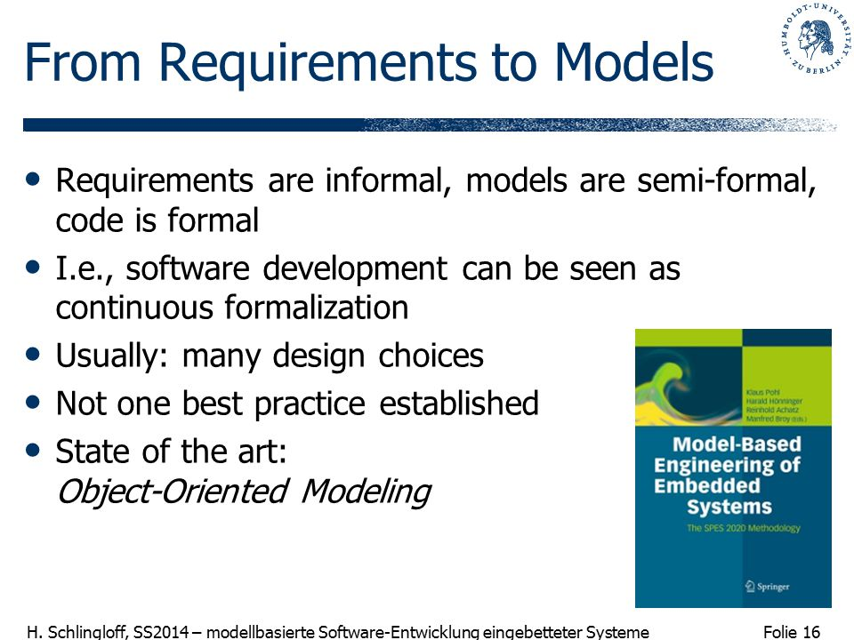 From Requirements to Models