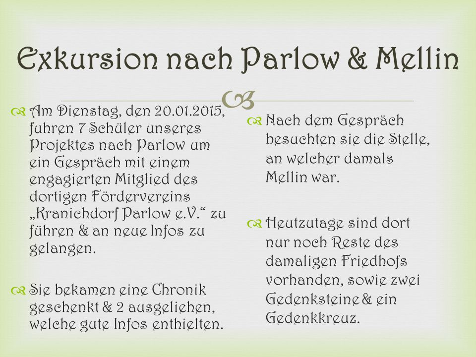 Exkursion nach Parlow & Mellin