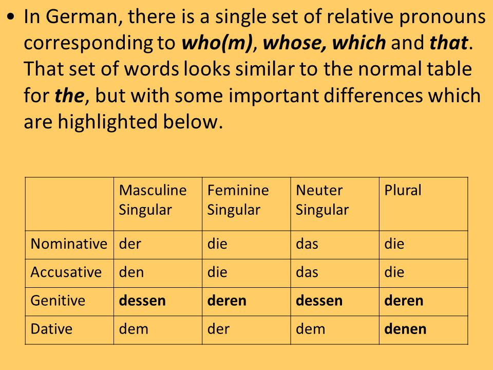 In German, there is a single set of relative pronouns corresponding to who(m), whose, which and that. That set of words looks similar to the normal table for the, but with some important differences which are highlighted below.