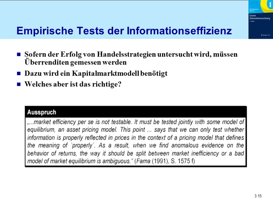 Empirische Tests der Informationseffizienz