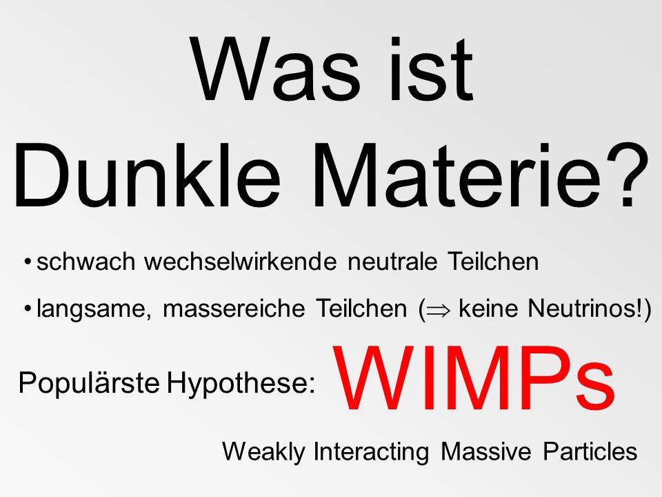 Was ist Dunkle Materie WIMPs Populärste Hypothese:
