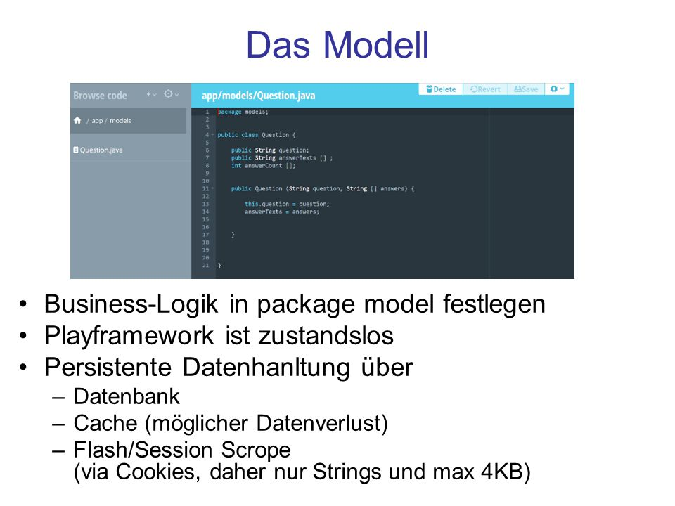 Das Modell Business-Logik in package model festlegen
