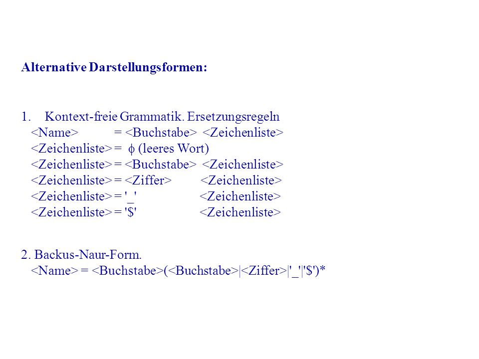 Alternative Darstellungsformen: