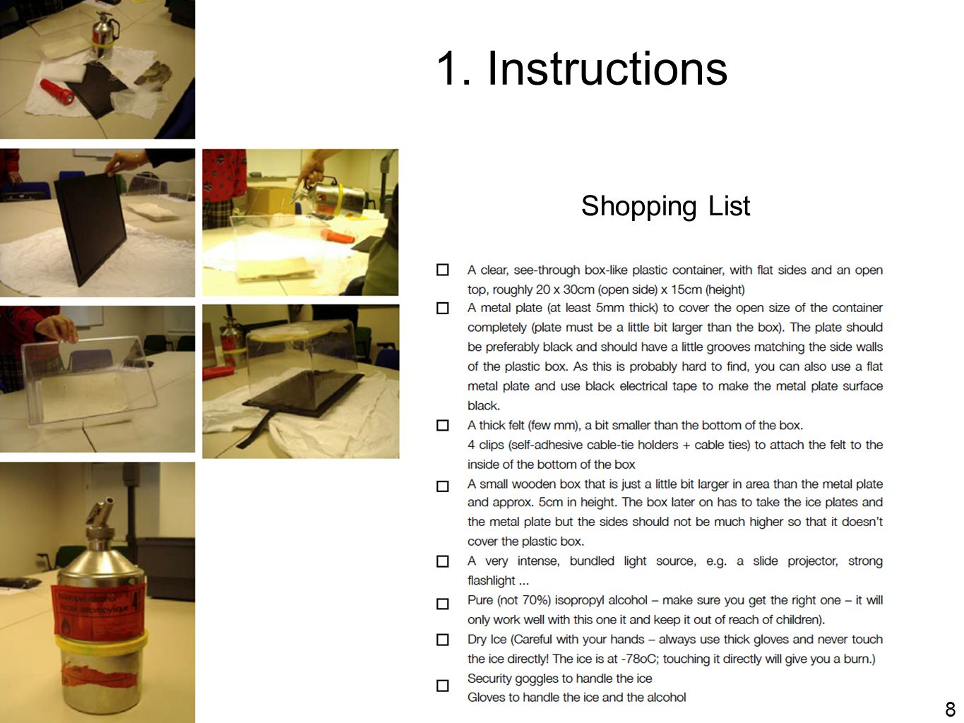 1. Instructions Shopping List