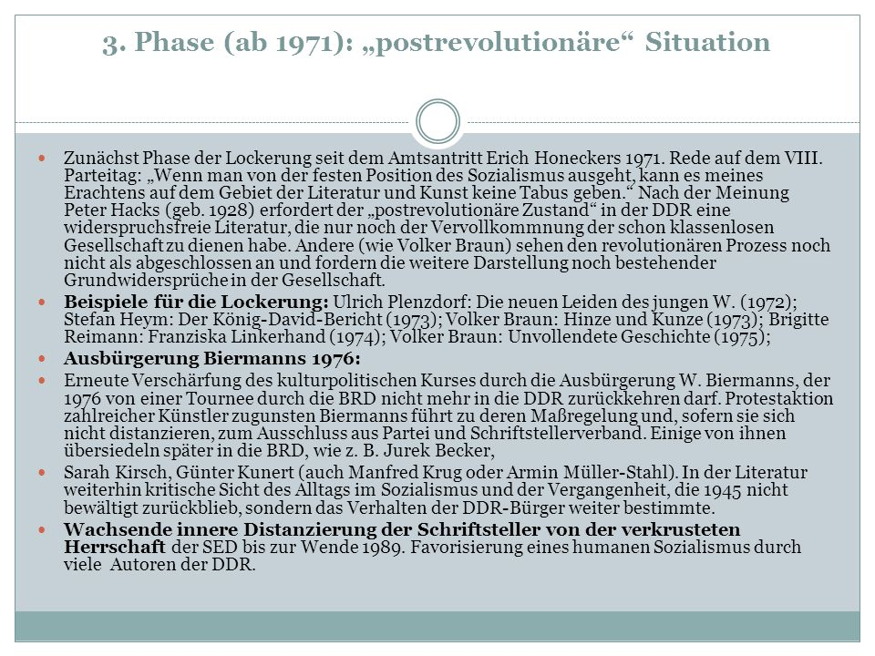 "3. Phase (ab 1971): ""postrevolutionäre Situation"