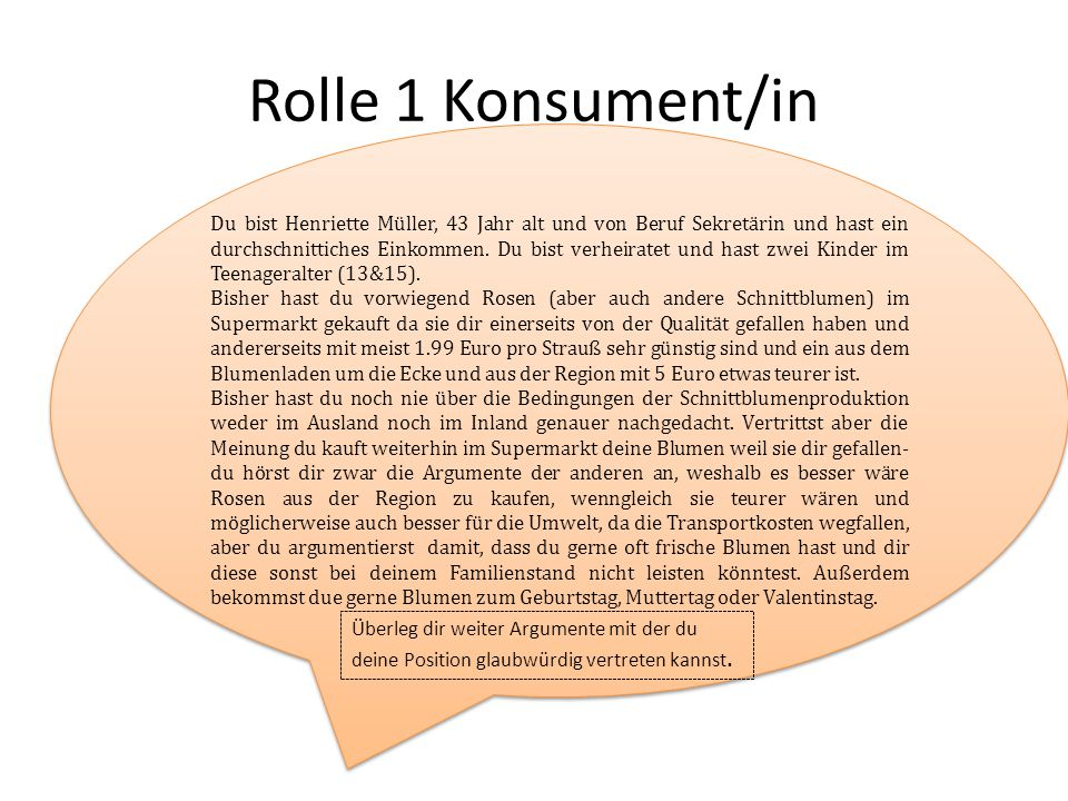 Rolle 1 Konsument/in